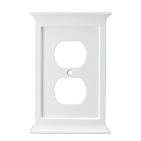 allen + roth 1-Gang White Standard Duplex Receptacle Wood Wall Plate