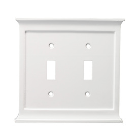 allen + roth 2-Gang White Standard Toggle Wood Wall Plate