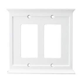 allen + roth 2-Gang White Decorator Rocker Wood Wall Plate