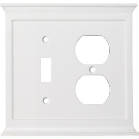 allen + roth 2-Gang White Combination Metal Wall Plate