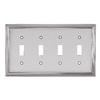 allen + roth 4-Gang Satin Nickel Standard Toggle Metal Wall Plate