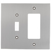 allen + roth 2-Gang Satin Nickel Standard Single Receptacle Metal Wall Plate