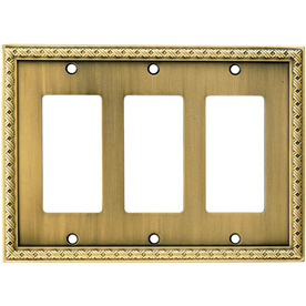 allen + roth 3-Gang Aged Brass Decorator Metal Wall Plate