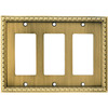 allen + roth 3-Gang Aged Brass Decorator Rocker Metal Wall Plate