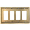 allen + roth 4-Gang Aged Brass Decorator Rocker Metal Wall Plate