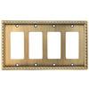 allen + roth 4-Gang Aged Brass Decorator Rocker Metal Wall Plate