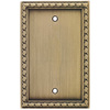 allen + roth 1-Gang Aged Brass Blank Metal Wall Plate