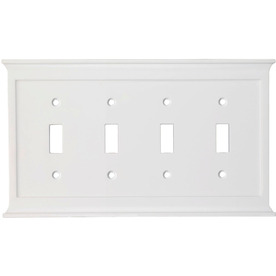 allen + roth 4-Gang White Standard Toggle Metal Wall Plate