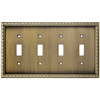 allen + roth 4-Gang Aged Brass Standard Toggle Metal Wall Plate