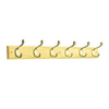 Solid Wood and Zinc Alloy Die Cast 6-Hook Garment Rail