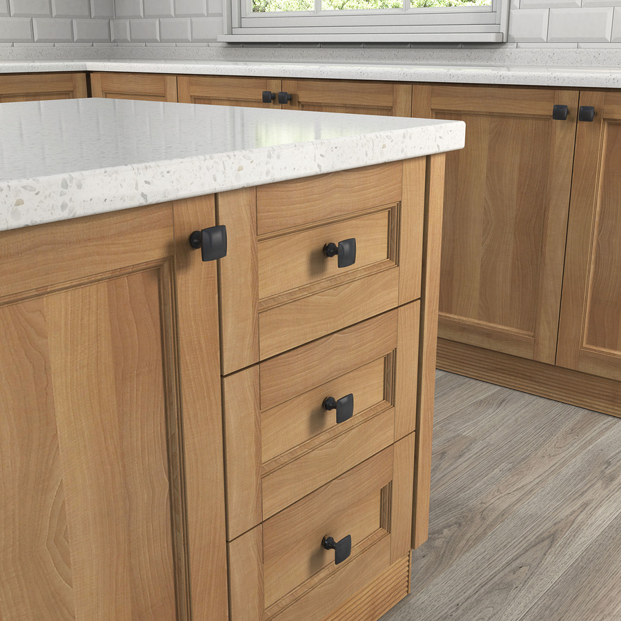 Shop allen roth 1 3 8 in matte black square cabinet knob for Square kitchen cabinet knobs