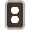 allen + roth 1-Gang Dark Oil-Rubbed Bronze and Satin Nickel Standard Duplex Receptacle Metal Wall Plate