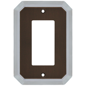 allen + roth 1-Gang Dark Oil-Rubbed Bronze and Satin Nickel Decorator Rocker Metal Wall Plate