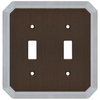allen + roth 2-Gang Dark Oil-Rubbed Bronze and Satin Nickel Standard Toggle Metal Wall Plate