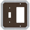 allen + roth 2-Gang Dark Oil-Rubbed Bronze and Satin Nickel Decorator Single Receptacle Metal Wall Plate