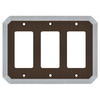 allen + roth 3-Gang Dark Oil-Rubbed Bronze and Satin Nickel Decorator Rocker Metal Wall Plate