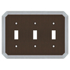 allen + roth 3-Gang Dark Oil-Rubbed Bronze and Satin Nickel Standard Toggle Metal Wall Plate