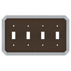 allen + roth 4-Gang Dark Oil-Rubbed Bronze and Satin Nickel Standard Toggle Metal Wall Plate