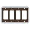allen + roth 4-Gang Dark Oil-Rubbed Bronze and Satin Nickel Decorator Rocker Metal Wall Plate