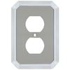 allen + roth 1-Gang Satin Nickel and Polished Chrome Standard Duplex Receptacle Metal Wall Plate