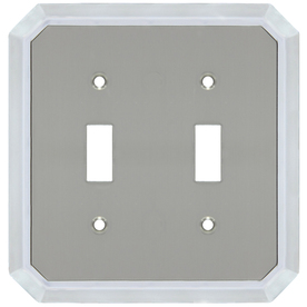 allen + roth 2-Gang Satin Nickel and Polished Chrome Toggle Wall Plate