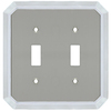 allen + roth 2-Gang Satin Nickel and Polished Chrome Standard Toggle Metal Wall Plate