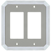 allen + roth 2-Gang Satin Nickel and Polished Chrome Decorator Rocker Metal Wall Plate