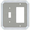 allen + roth 2-Gang Satin Nickel and Polished Chrome Decorator Single Receptacle Metal Wall Plate