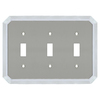 allen + roth 3-Gang Satin Nickel and Polished Chrome Standard Toggle Metal Wall Plate