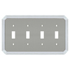 allen + roth 4-Gang Satin Nickel and Polished Chrome Standard Toggle Metal Wall Plate