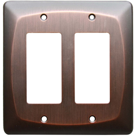 allen + roth 2-Gang Dark Oil-Rubbed Bronze Decorator Metal Wall Plate