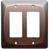 allen + roth 2-Gang Dark Oil-Rubbed Bronze Decorator Rocker Metal Wall Plate