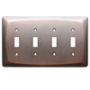 allen + roth 4-Gang Dark Oil-Rubbed Bronze Standard Toggle Metal Wall Plate