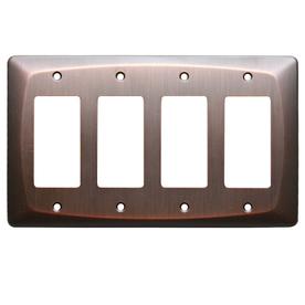 allen + roth 4-Gang Dark Oil-Rubbed Bronze Decorator Metal Wall Plate