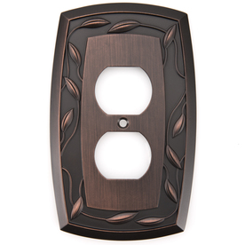allen + roth 1-Gang Dark Oil-Rubbed Bronze Standard Duplex Receptacle Metal Wall Plate