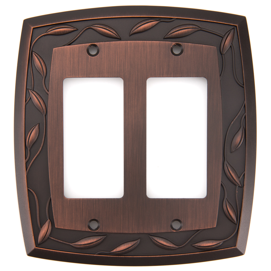 Shop allen + roth 2-Gang Dark Oil-Rubbed Bronze Decorator Rocker Metal Wall Plate at Lowes.com