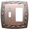 allen + roth 2-Gang Dark Oil-Rubbed Bronze Decorator Single Receptacle Metal Wall Plate