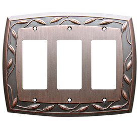 allen + roth 3-Gang Dark Oil-Rubbed Bronze Decorator Metal Wall Plate