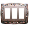 allen + roth 3-Gang Dark Oil-Rubbed Bronze Decorator Metal Wall Plate