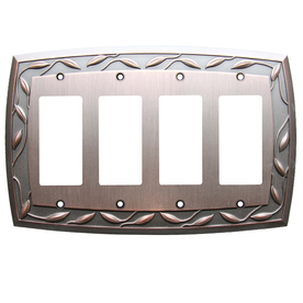 allen + roth 4-Gang Dark Oil-Rubbed Bronze Decorator Rocker Metal Wall Plate