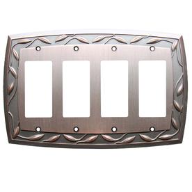 allen + roth 4-Gang Dark Oil-Rubbed Bronze Decorator Rocker Metal Wall Plate