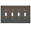 allen + roth 4-Gang Rust Standard Toggle Metal Wall Plate