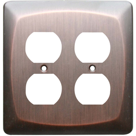 allen + roth 2-Gang Dark Oil-Rubbed Bronze Round Wall Plate