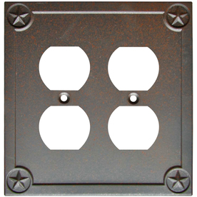 Style Selections 2-Gang Rust Standard Duplex Receptacle Metal Wall Plate