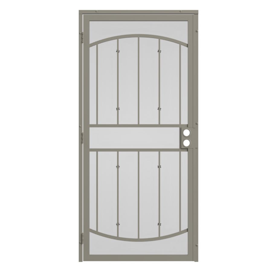 Shop gatehouse gibraltar almond steel security door for Doors at lowe s