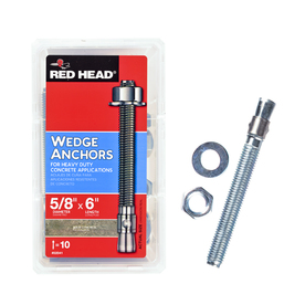 Red Head 10-Pack 5/8-in x 6-in Wedge Anchors for Solid Concrete