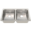 Franke USA Frankeusa 19.125-in x 33.25-in Silk Deck and Bowls Double-Basin Stainless Steel Drop-In or Undermount Kitchen Sink