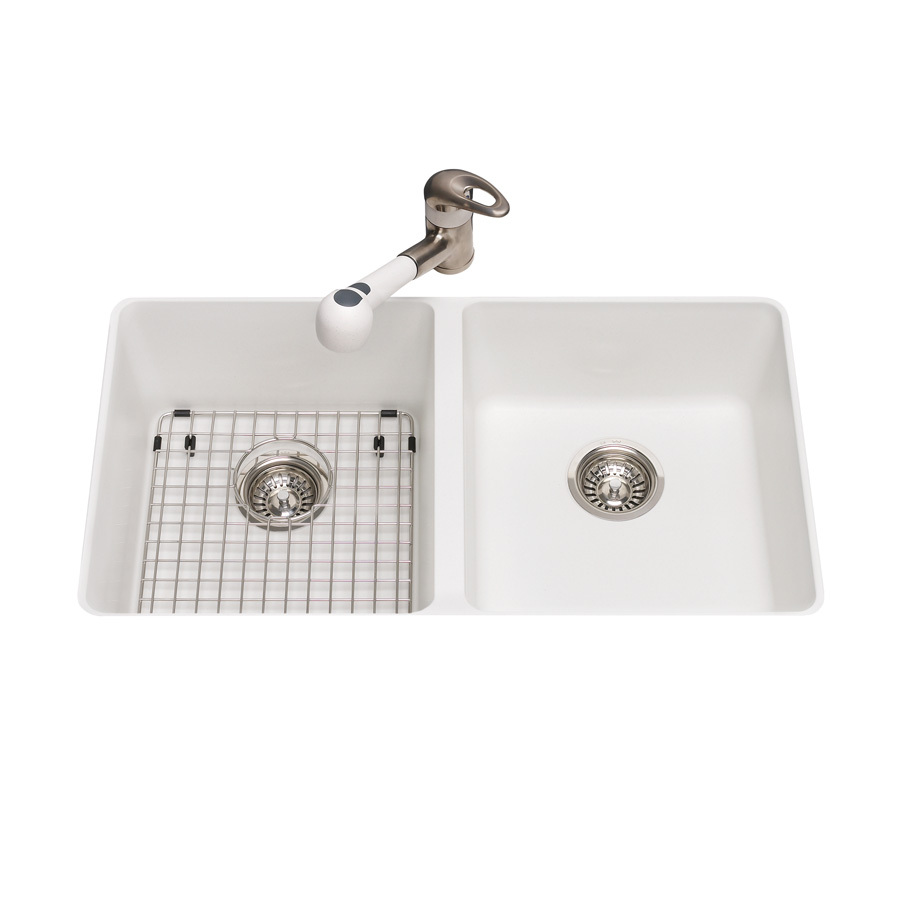 Shop kindred polar white double basin undermount kitchen - Undermount granite kitchen sinks ...