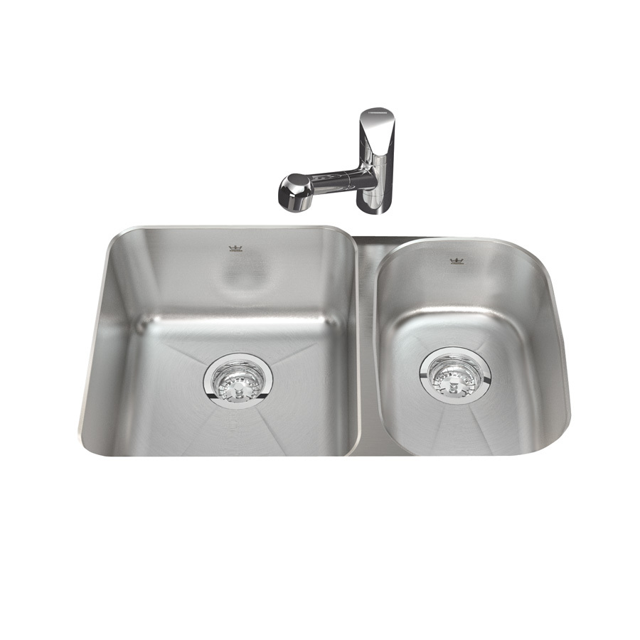 Shop kindred x 28 5 in silk bowls and rim double basin stainless steel undermount - Kindred undermount kitchen sinks ...