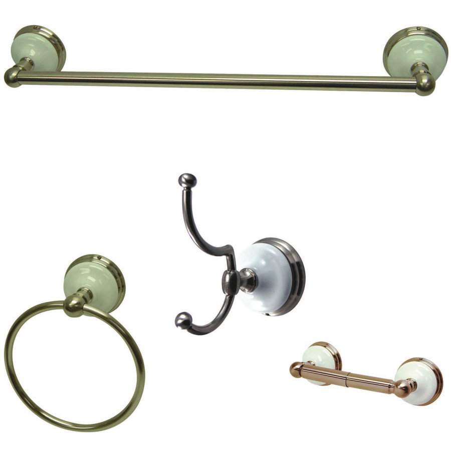 Shop kingston brass 4 piece victorian satin nickel for Bathroom hardware sets